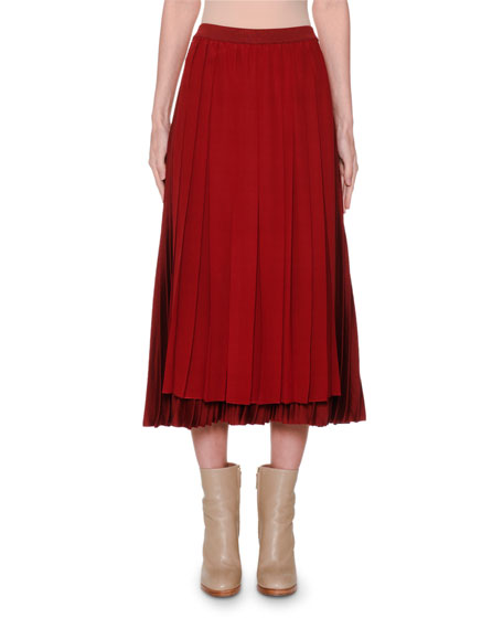 Pleated Silk Midi Skirt