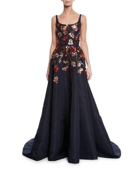 Ahluwalia Mara Ballerina-Neck Sequined Floral Gown