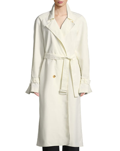 c25b9fb287 Nueta Double-Breasted Belted Trench Coat