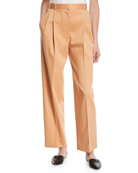 High-Waist Straight-Leg Wool Pants