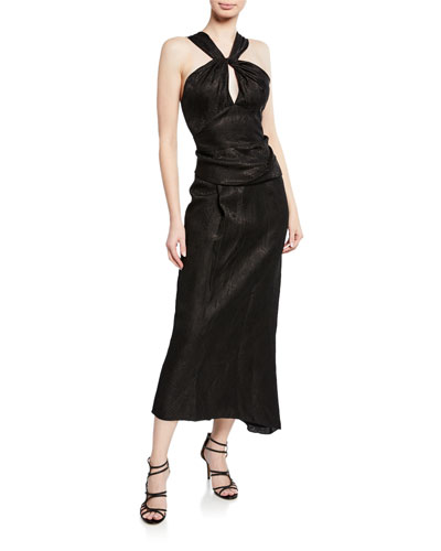 Halter-Neck Wrap Dress