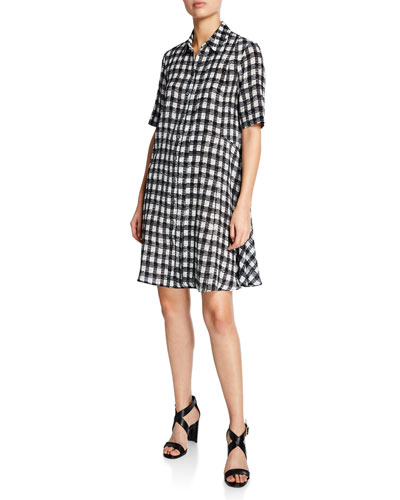 Plaid Short-Sleeve A-Line Dress