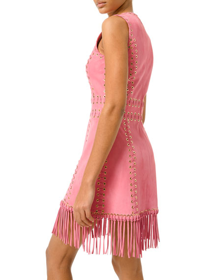 Suede Whipstitched Fringe-Trim Dress