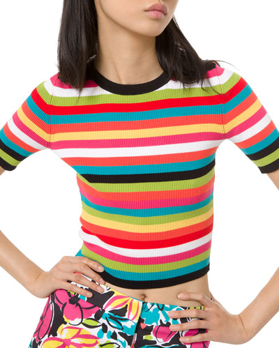 1/2-Sleeve Multi-Striped Ribbed Crewneck Tee
