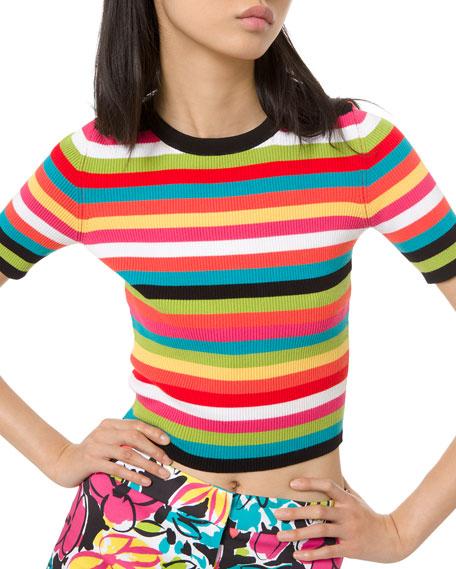 1/2-Sleeve Multi-Striped Ribbed Crewneck Tee