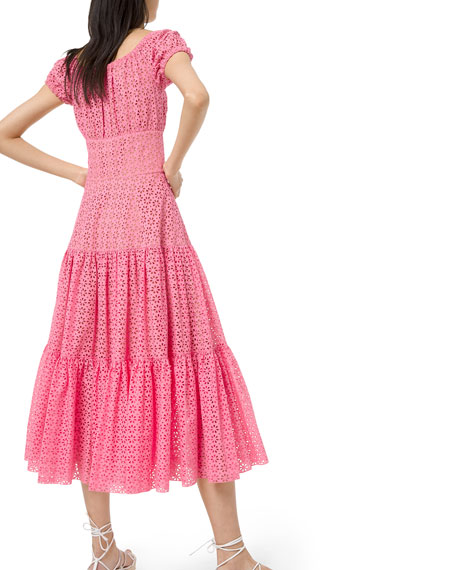 Tiered-Cotton Eyelet Embroidered Cap-Sleeve Dress