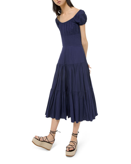Crushed Cotton Cap-Sleeve Tiered Dress