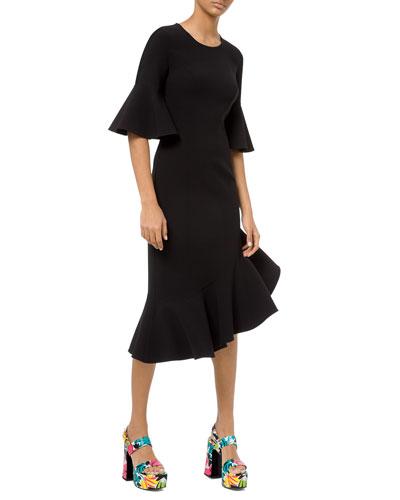 Stretch Wool Crepe Flounce Dress
