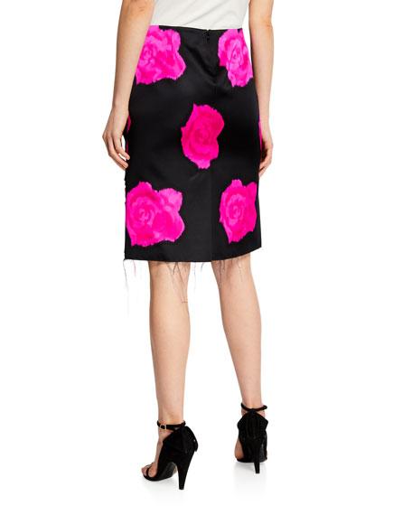 Rose-Print Silk Pencil Skirt