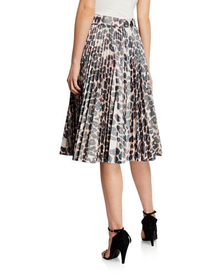 Animal-Print Pleated Taffeta Skirt