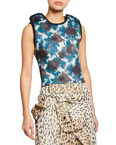 Floral-Print Neoprene Apron Top