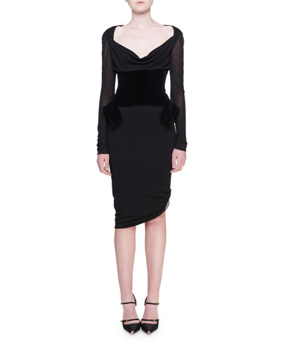 Light Draped Jersey Dress w/ Waist Cincher