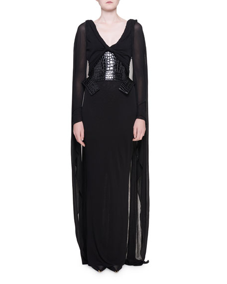 Grecian Draped Jersey Gown with Cape & Waist-Cincher