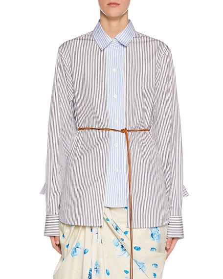 Long-Sleeve Multi Striped Button-Front Shirt