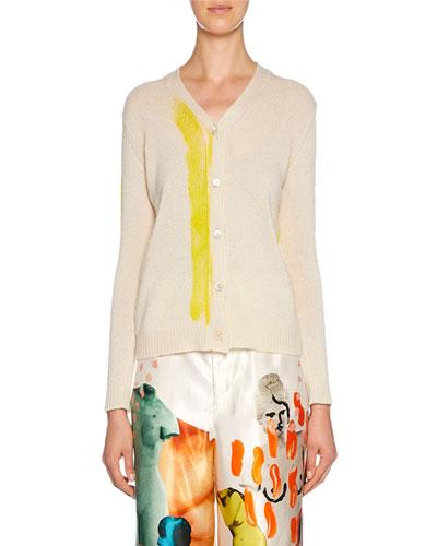 Cashmere Painted Stripe Cardigan