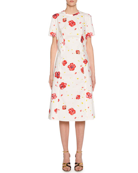 Short-Sleeve Painted Flower Print Dress