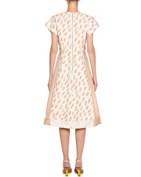 Short-Sleeve Brushstroke Print Midi Dress