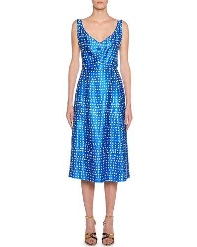V-Neck Polka-Dot Dress