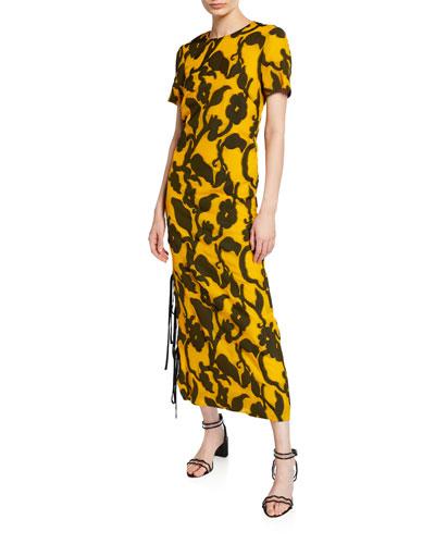 Floral Jacquard Side-Tie Dress