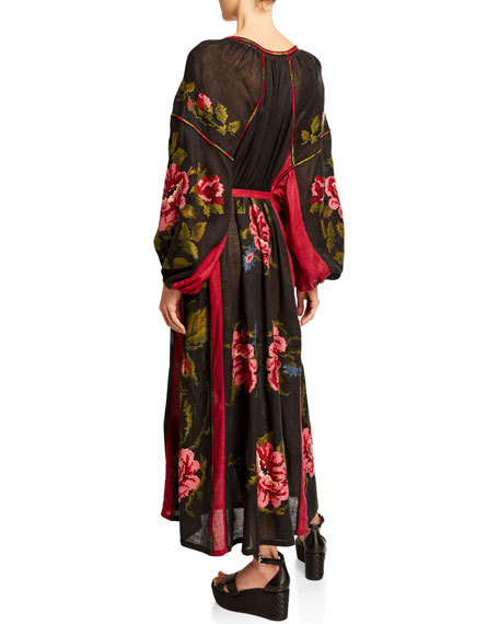 Floral Embroidered Linen Long-Sleeve Dress