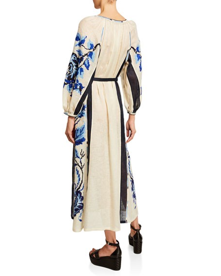 V-Neck Tasseled Floral Long-Sleeve Dress, White