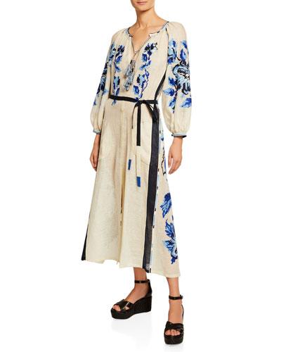 V-Neck Tasseled Floral Long-Sleeve Dress  White