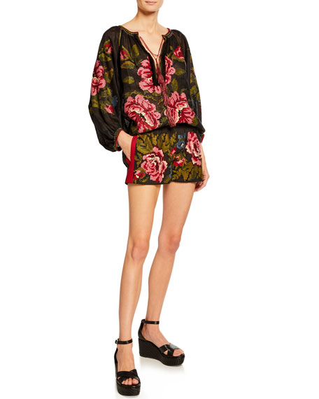 Rose-Embroidered Linen Shorts