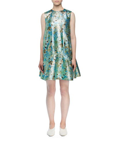 Shimmer Floral Sleeveless Cocktail Dress