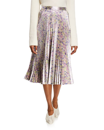 Metallic Micro-Floral Pleated Midi Skirt