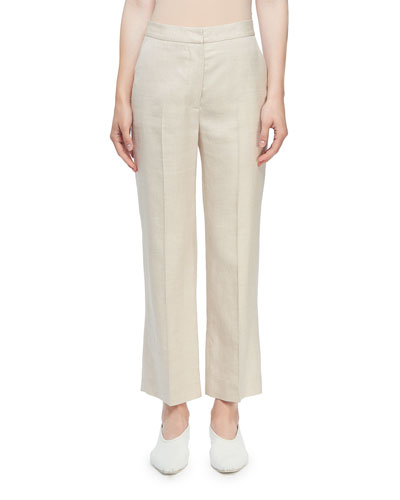 High-Rise Linen Cropped Trousers