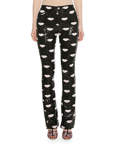 Lip-Embroidered Skinny Sequin Pants