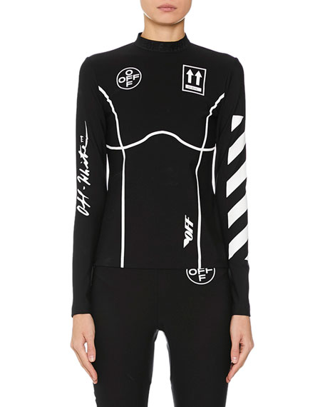 Off-White Diagonal-Striped Graphic Long Sleeve Top , Black