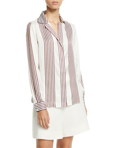 Striped Collared Long-Sleeve Silk Blouse