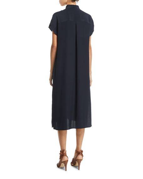 Tie-Neck Silk Short-Sleeve Midi Dress