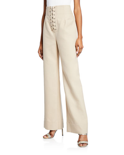 Extra High-Rise Lace-Up Wide Leg Pants