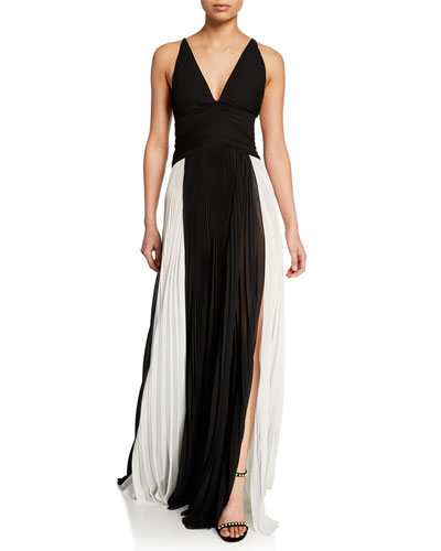 Two-Tone Pleated Chiffon Gown