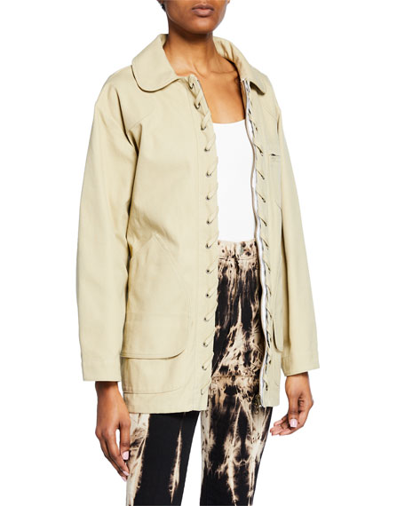 Tie-Waist Lace-Up Pique Jacket