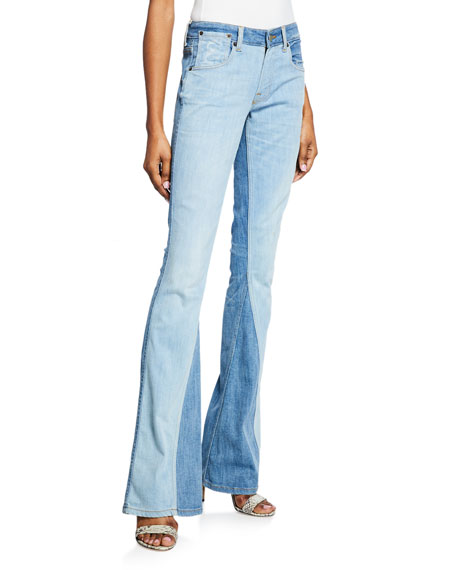 Two-Tone Low-Rise Flared Jeans
