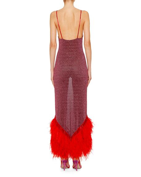 Shimmer Feathered-Hem Slip Dress