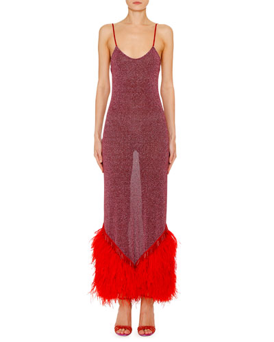 Shimmer Feathered-Hem Slip Dress