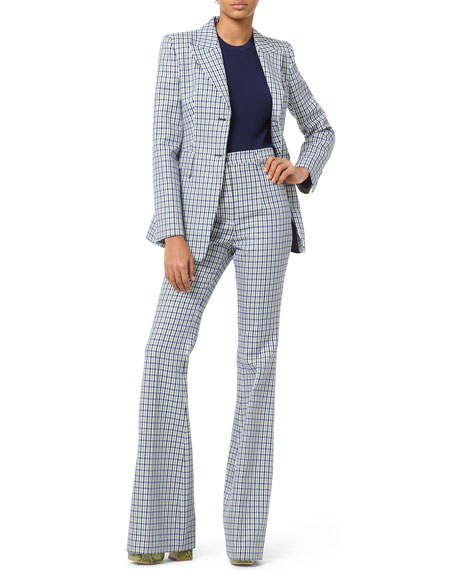 High-Rise Flare-Leg Checkered Pants