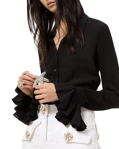 Crushed Silk Bell-Sleeve Blouse