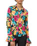 Crushed Silk Floral Print Bell-Sleeve Shirt