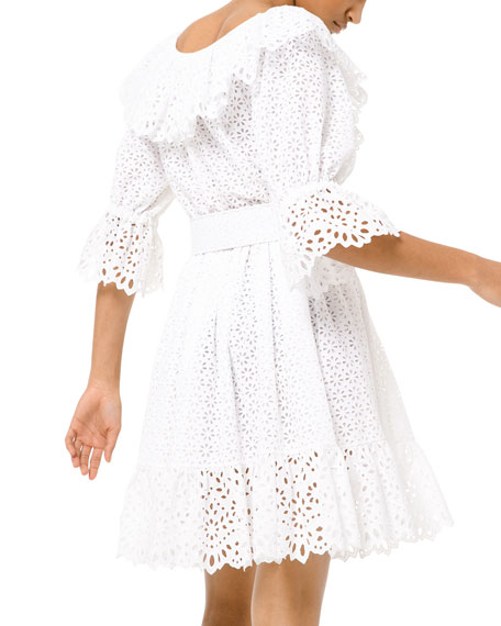 Eyelet-Embroidered Long-Sleeve Dirndle Dress