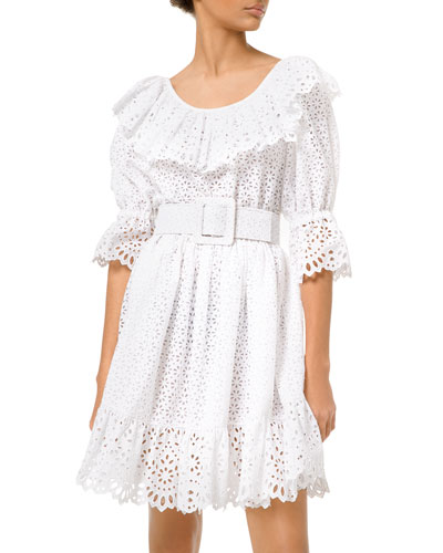 Eyelet-Embroidered Long-Sleeve Dirndle Dress