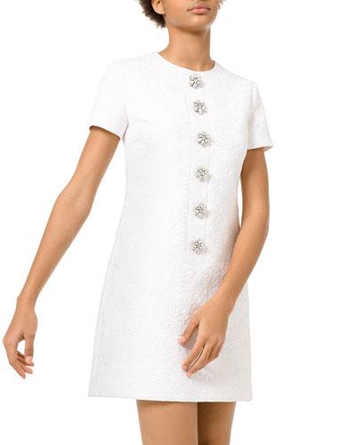 Floral Gem Matelasse Button Shift Dress