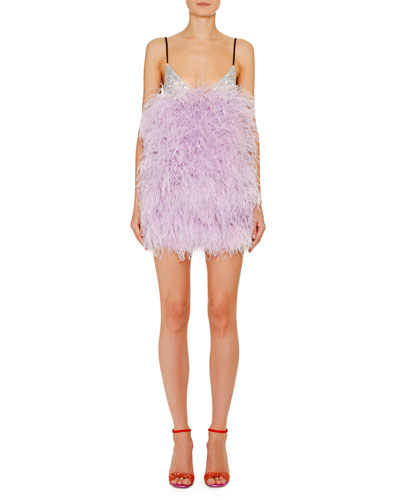 Shimmer Feather Mini Slip Dress