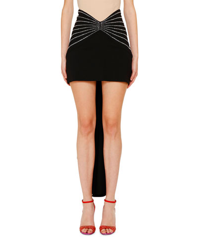 Gabardine Butterfly-Band Draped Back Mini Skirt