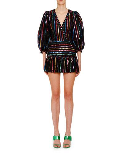 Shimmer Striped Mini Dress