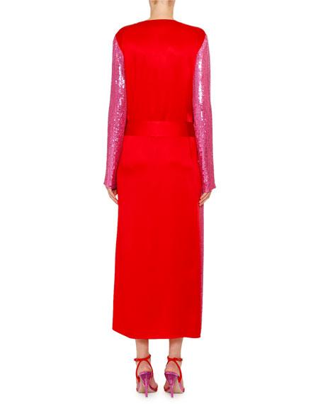 Sequined Crepe Tie-Waist Dress